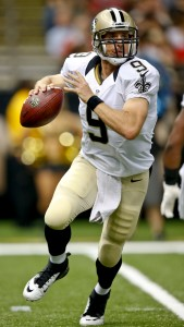 Aug 9, 2013; New Orleans, LA, USA; New Orleans Saints quarterback Drew Brees (9) during the first quarter of a preseason game against the Kansas City Chiefs at the Mercedes-Benz Superdome. Mandatory Credit: Derick E. Hingle-USA TODAY Sports