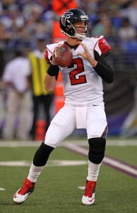 Aug 15, 2013; Baltimore, MD, USA; Atlanta Falcons quarterback Matt Ryan (2) during the game against the Baltimore Ravens at M&T Bank Stadium. Mandatory Credit: Mitch Stringer-USA TODAY Sports