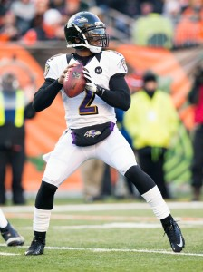 December 30, 2012; Cincinnati, OH, USA; Baltimore Ravens quarterback Tyrod Taylor (2) looks for an open receiver against the Cincinnati Bengals at Paul Brown Stadium. Cincinnati won the game 23-17. Mandatory Credit: Greg Bartram-USA TODAY Sports