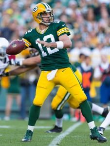Aug 9, 2013; Green Bay, WI, USA; Green Bay Packers quarterback Aaron Rodgers (12) during the game against the Arizona Cardinals at Lambeau Field.  The Cardinals won 17-0.  Mandatory Credit: Jeff Hanisch-USA TODAY Sports