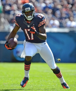 Sep 09, 2012; Chicago, IL, USA; Chicago Bears wide receiver Alshon Jeffery (17) runs the ball after a catch against the Indianapolis Colts during the fourth quarter at Soldier Field. Chicago defeats Indianapolis 41-21. Mandatory Credit: Mike DiNovo-USA TODAY Sports